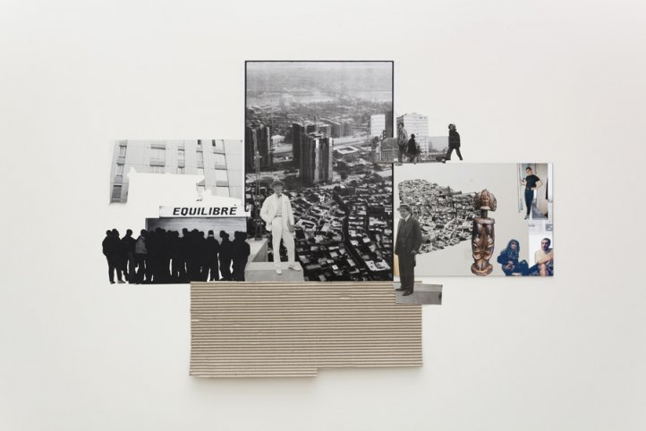 Modern Architecture Genealogy, 2014. Collage, carton, photographies d_archive. Avec l_aimable autorisation de l_artiste et de la Galerie Krinzinger. © Adagp, Paris 2018. Photo
